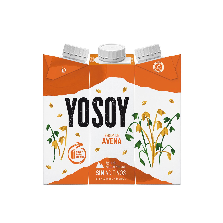 Bebida de avena sin azúcar añadido YoSoy pack de 3 briks de 250 ml.