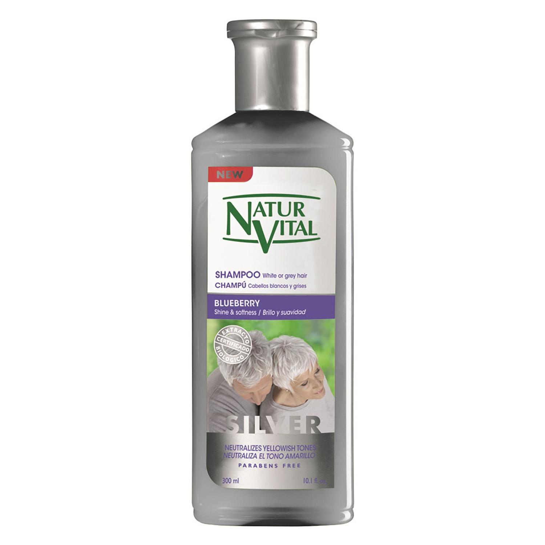 Champú para cabellos blancos y grises