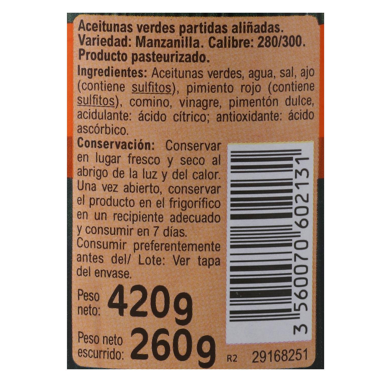 Aceitunas verdes partidas aliñadas Carrefour 260 g. -