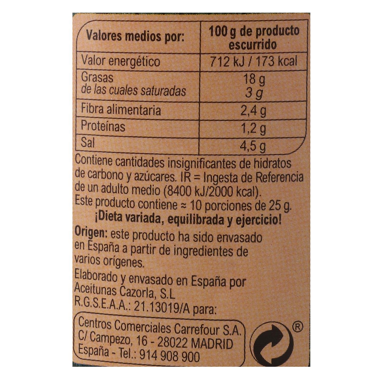 Aceitunas verdes partidas aliñadas Carrefour 260 g. - 2