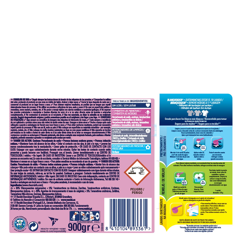 Quitamanchas ropa blanca en polvo 5 Vanish Oxi-Action 900 g. -