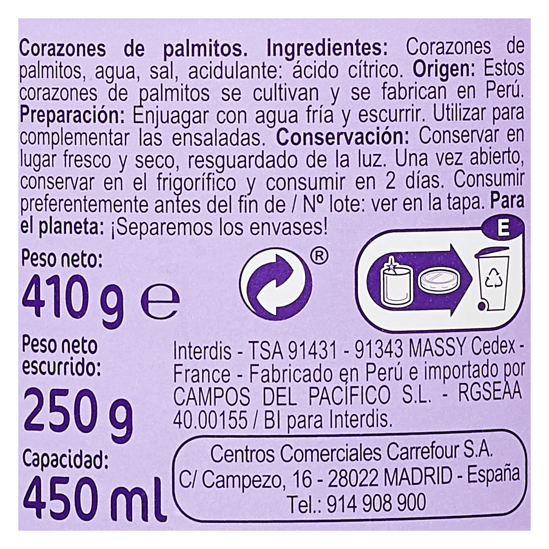 Corazones de palmitos Carrefour 250 g. - 2