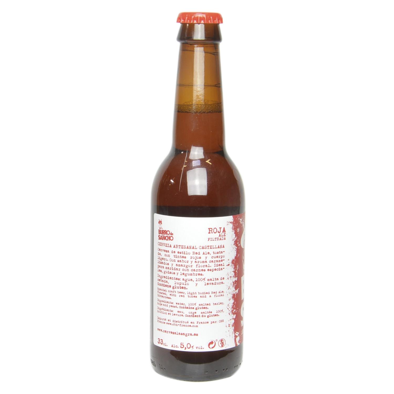 Cerveza artesana Burro de Sancho roja botella 33 cl. -
