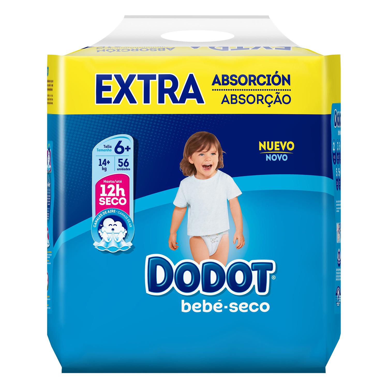 Pañales Dodot extra absorción T6+ (14+ kg.) 56 ud.