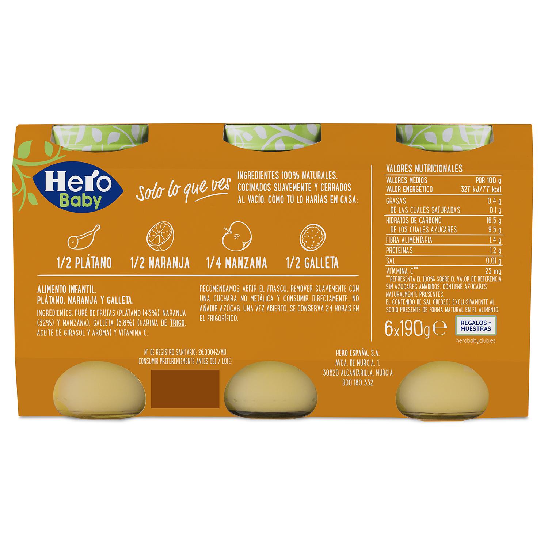 Tarrito de naranja, plátano y galletas maría Hero Babymerienda pack de 6 unidades de 200 g. -