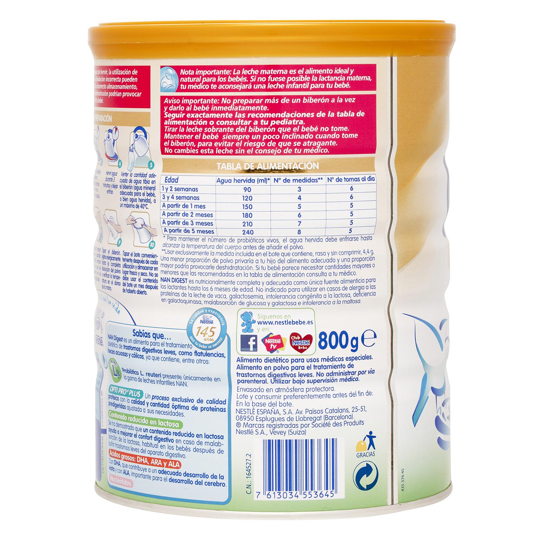 Leche Digest Nestlé Nan baja en lactosa 750 g. - 3