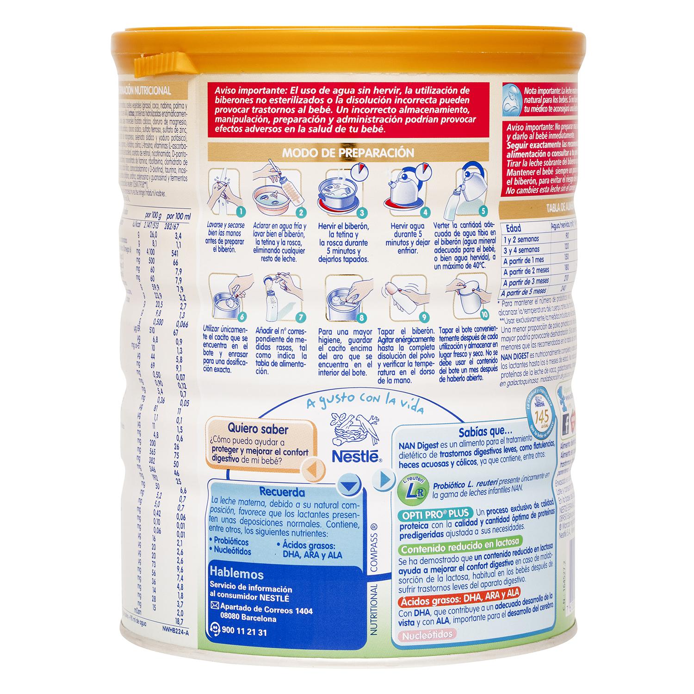 Leche Digest Nestlé Nan baja en lactosa 750 g. - 2