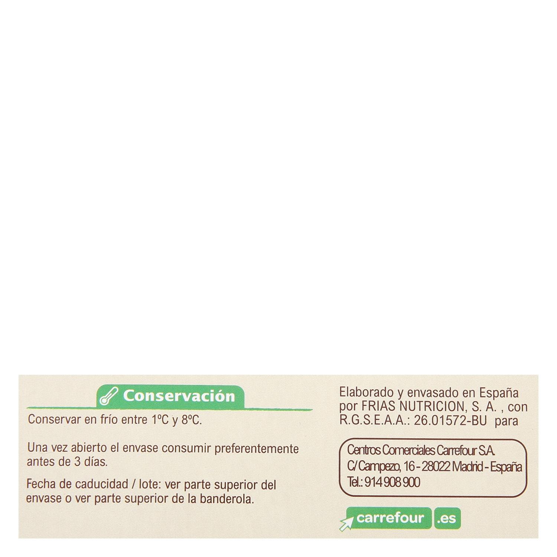 Natillas de soja sabor vainilla ecológicas Carrefour Bio pack de 2 unidades de 125 g. -