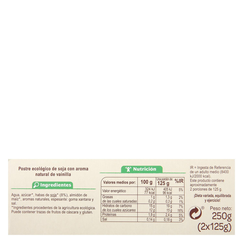 Natillas de soja sabor vainilla ecológicas Carrefour Bio pack de 2 unidades de 125 g. - 2