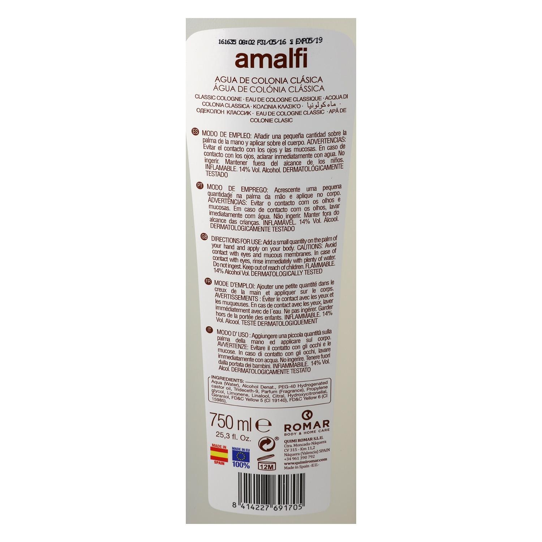 Agua de colonia clásica Amalfi 750 ml. -