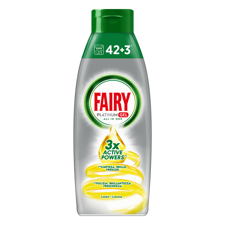Lavavajillas a máquina aroma limón Fairy Platinum Gel 45 lavados.