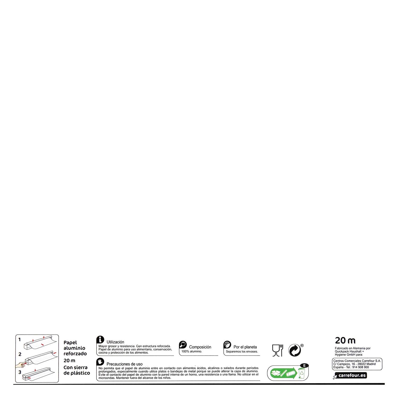 Papel de aluminio Carrefour 20 metro. -
