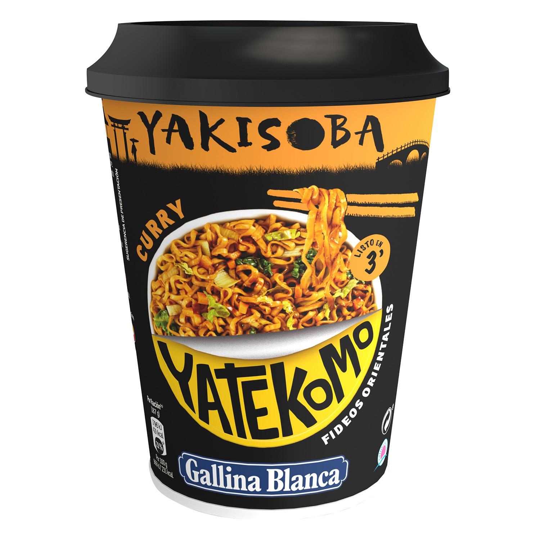 Fideos orientales Yatekomo  Yakisoba curry Gallina Blanca 90  g.