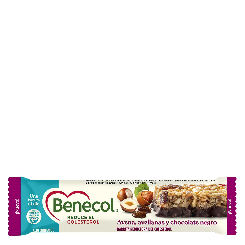 Barrita de avena con avellanas y chocolate negro Benecol 40 g.