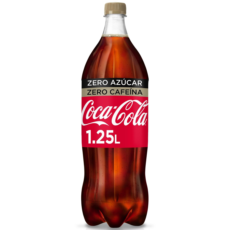 Refresco de cola Coca Cola zero sin cafeína botella 1,25 l.