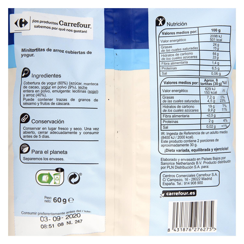 Tortitas de arroz cubiertas de yogur bajo en sal Carrefour sin gluten 60 g. -
