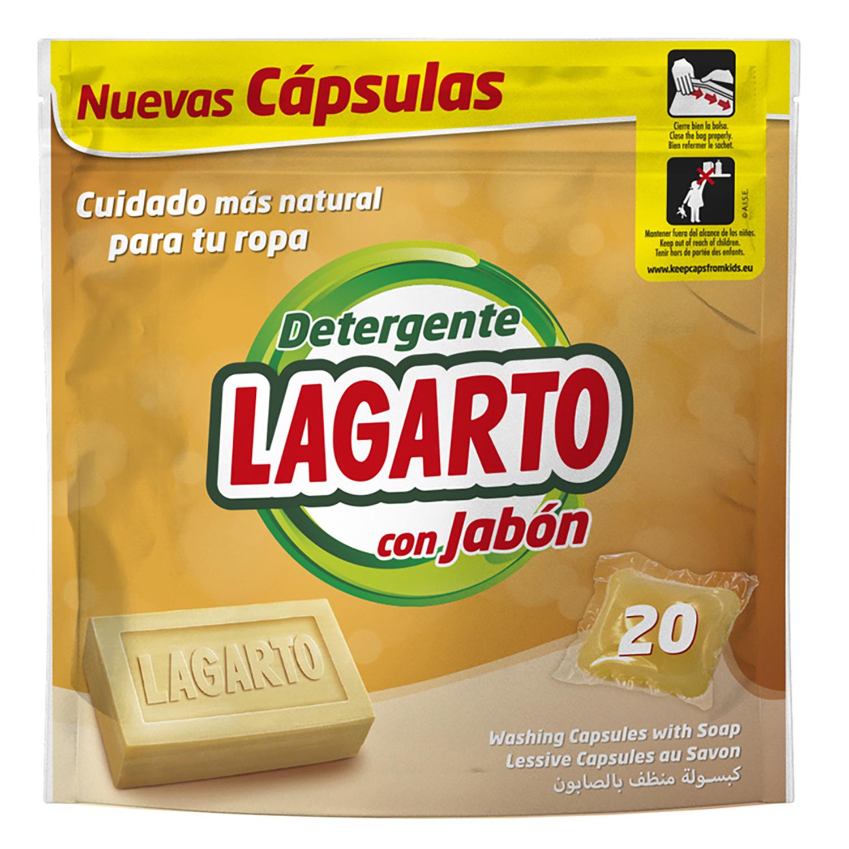 Detergente en cápsulas con jabón Lagarto 20 ud.