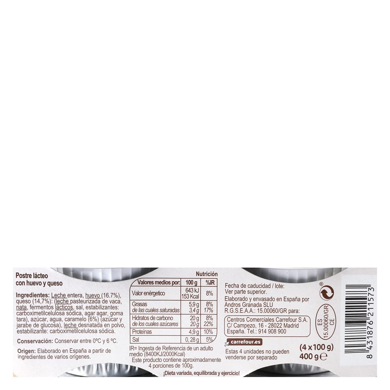 Flan de huevo Carrefour sin gluten pack de 4 unidades de 110 g. -