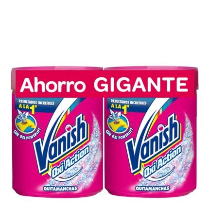 Quitamanchas en polvo Vanish OxiAction pack de 2 unidades de 1 kg.