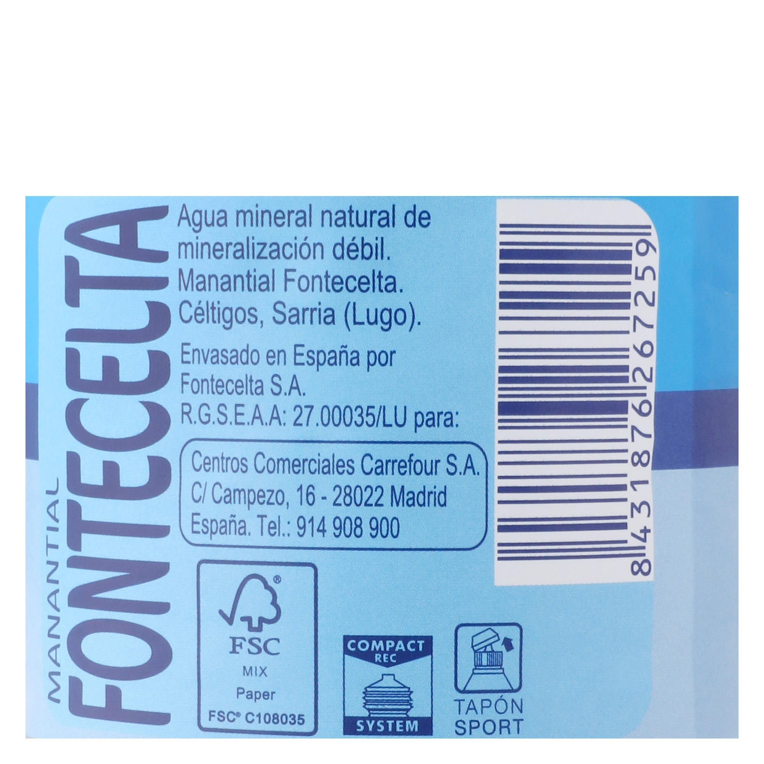 Agua mineral Carrefour natural tapón deportivo 75 cl. - 2