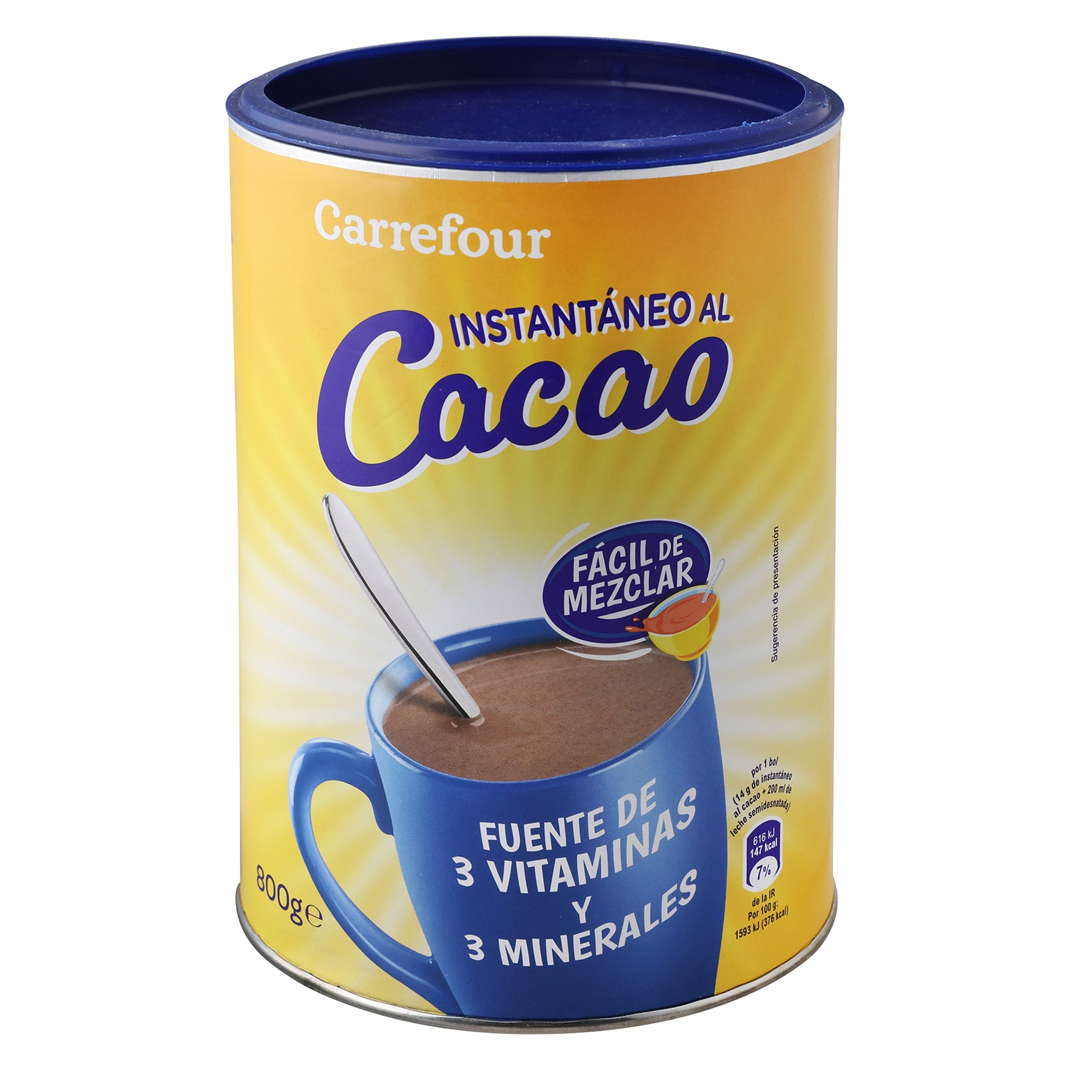Cacao soluble instantáneo Carrefour 800 g.