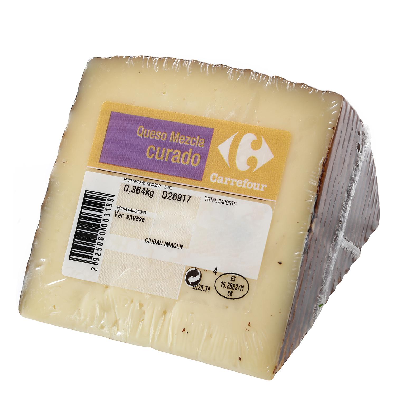 Queso mezcla curado Carrefour cuña 1/8 375 g aprox - 2