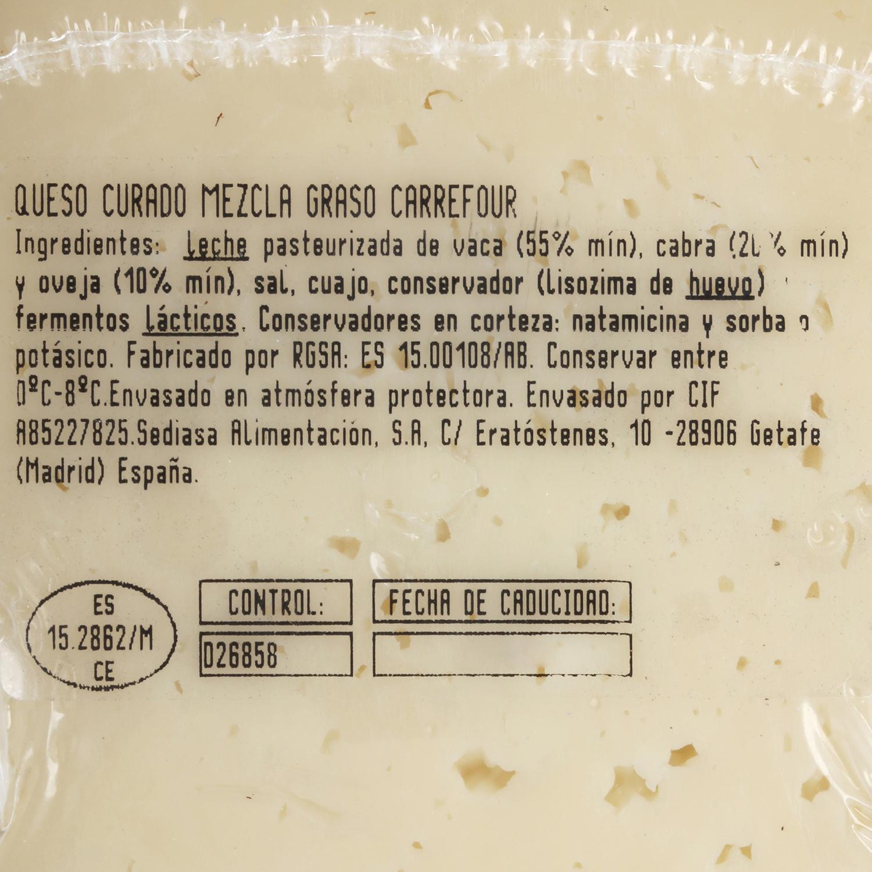 Queso mezcla curado Carrefour cuña 1/8 375 g aprox -