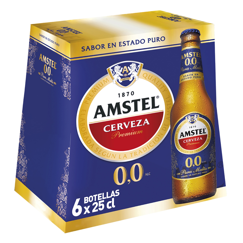 Cerveza Amstel 0,0 sin alcohol premium malta pack de 6 botellas de 25 cl.