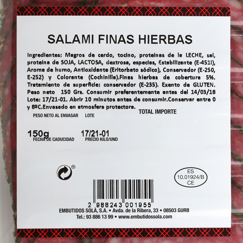 Salami extra a las finas hierbas loncheado Embutidos Solá 150 g  - 2