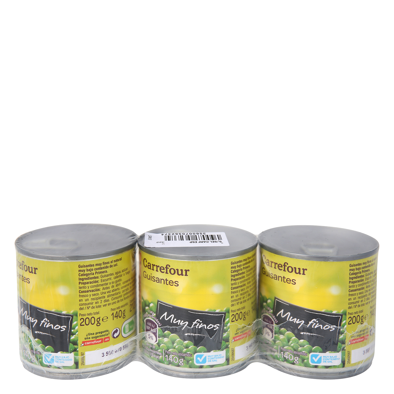 Guisantes muy finos contenido bajo de sal Carrefour pack de 3 unidades de 140 g.