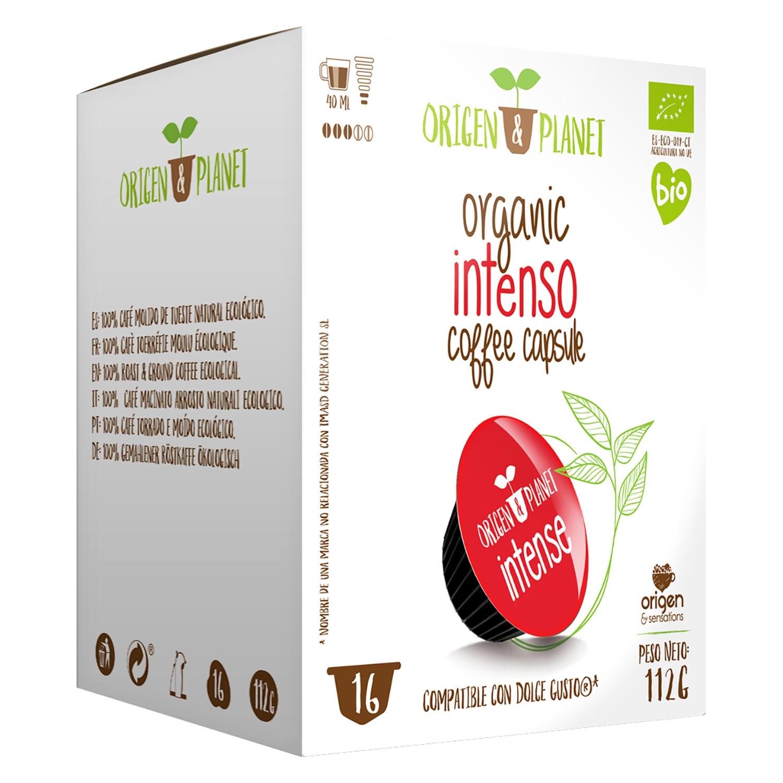Café intenso ecológico en cápsulas Origen&Planet compatible con Dolce Gusto 16 unidade sde 7 g.