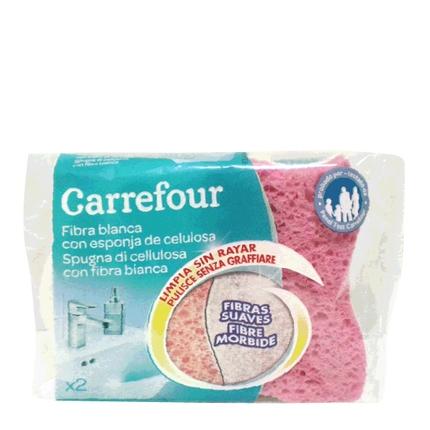 2 Estropajos con esponja Carrefour  - Blanca