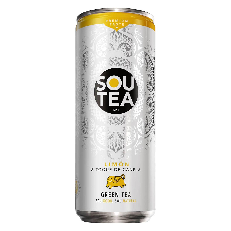 Refresco de té verde Sou Tea sabor limón-canela lata 33 cl.