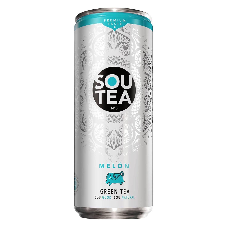 Refresco de té verde Sou Tea sabor melón lata 33 cl.