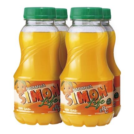 Zumo de naranja Simon Life pack de 4 botellas de 20 cl.
