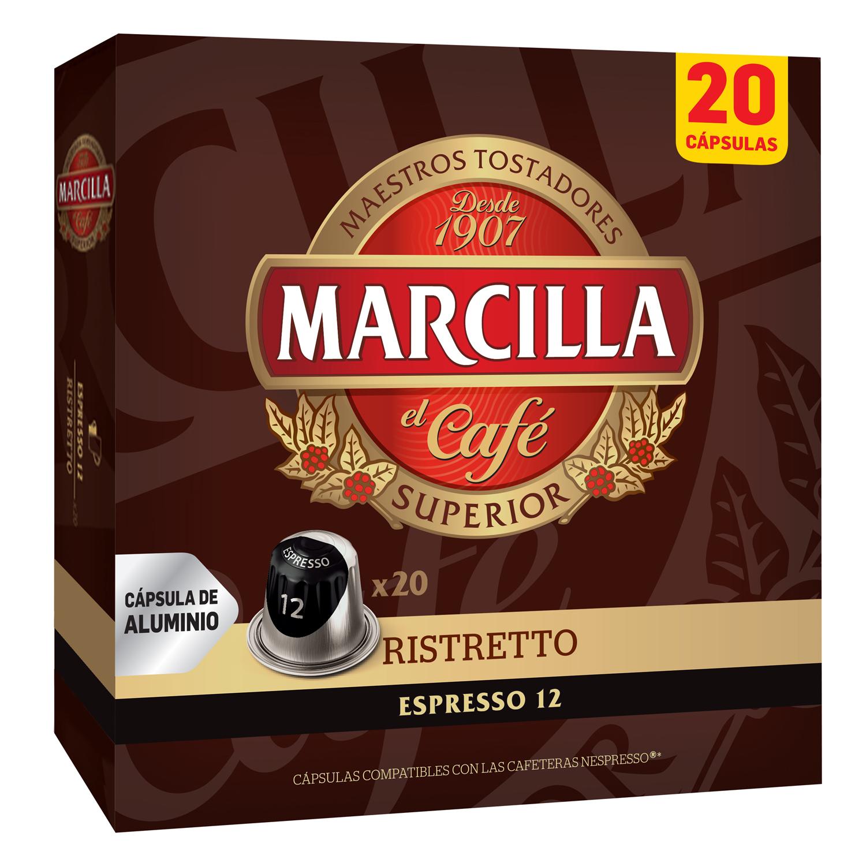 Café ristretto en cápsulas Marcilla compatible con Nespresso 20 unidades de 5,2 g.