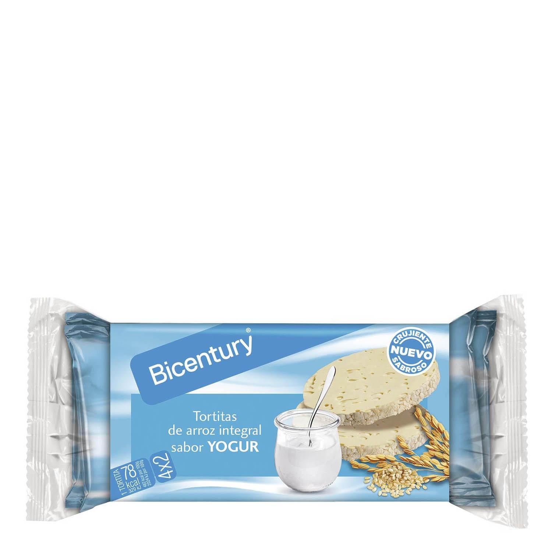 Tortitas de arroz integrales sabor yogur Bicentury 150 g.