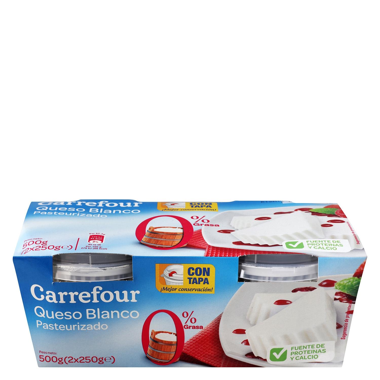 Queso de Burgos 0% Carrefour pack de 2 unidades de 250 g.
