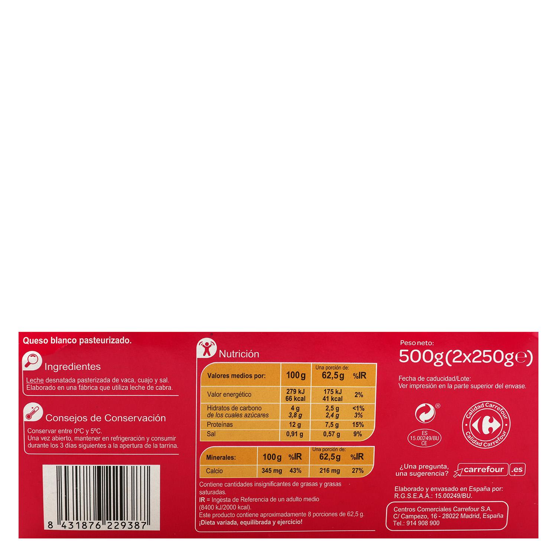 Queso de Burgos 0% Carrefour pack de 2 unidades de 250 g. -