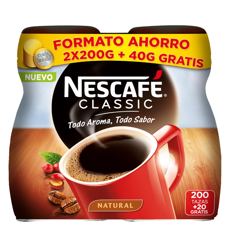 Café soluble natural classic Nescafé pack de 2 uniadades de 200 g.