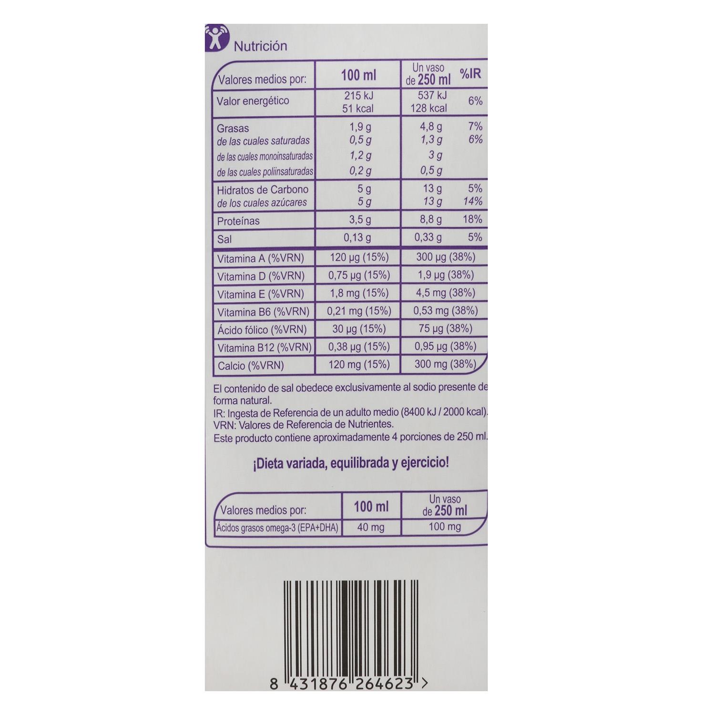 Bebida láctea desnatada Carrefour-No Lactosa Omega 3 brik 1 l. -