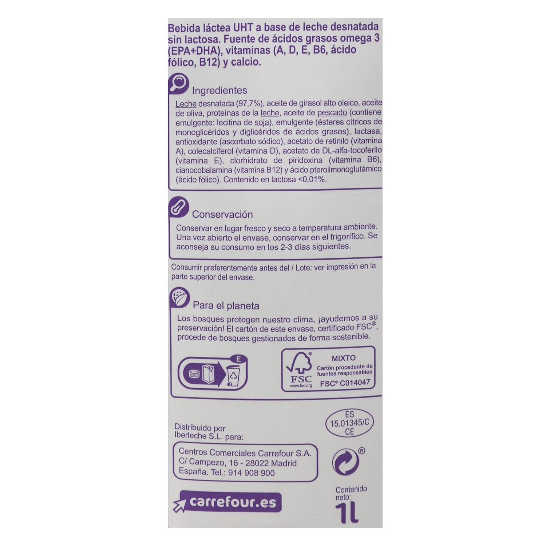 Bebida láctea desnatada Carrefour-No Lactosa Omega 3 brik 1 l. - 2