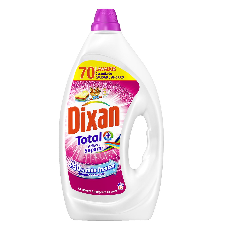Detergente líquido adiós al separar Total Dixan 70 lavados.