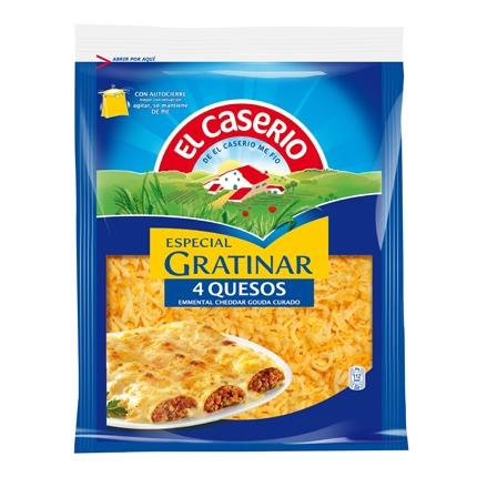 Queso rallado mezcla de 4 quesos El Caserío 140 g.