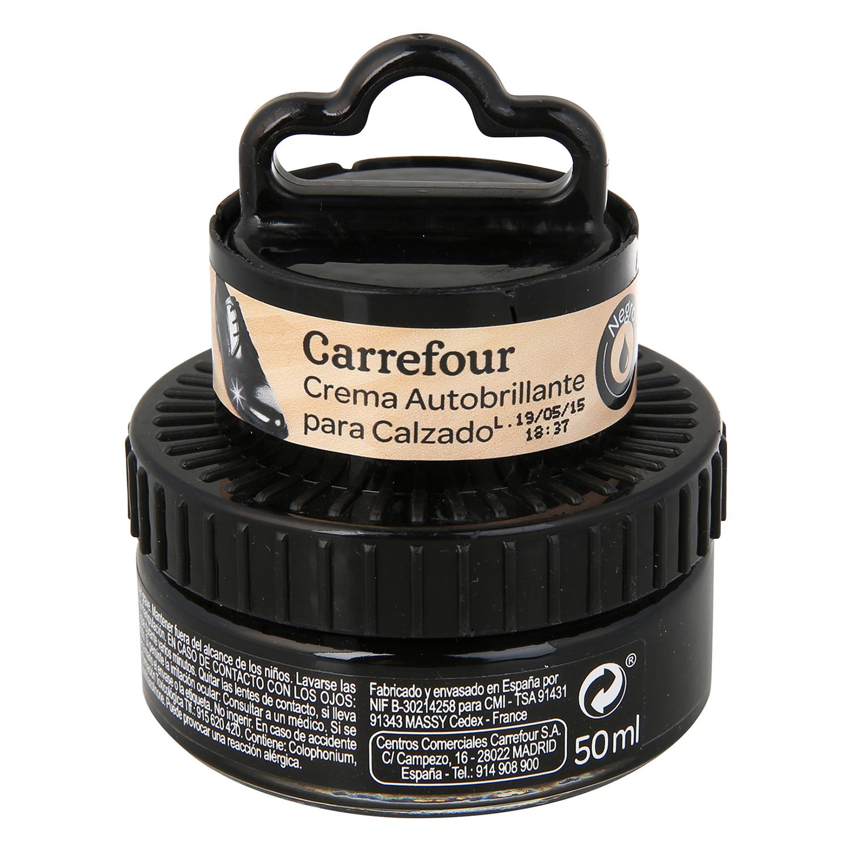Crema autobrillante c/aplicador negro Carrefour 50 ml.