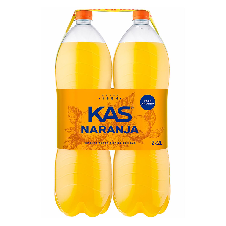 Refresco de naranja Kas con gas pack de 2 botellas de 2 l.