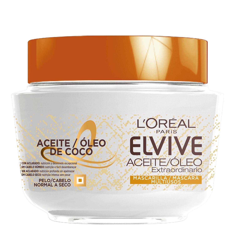 Mascarilla capilar noche y día con aceite de coco L'Oréal Elvive 300 ml.