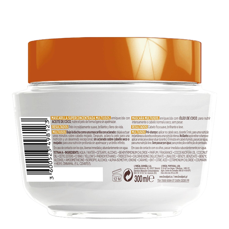 Mascarilla capilar noche y día con aceite de coco L'Oréal Elvive 300 ml. -