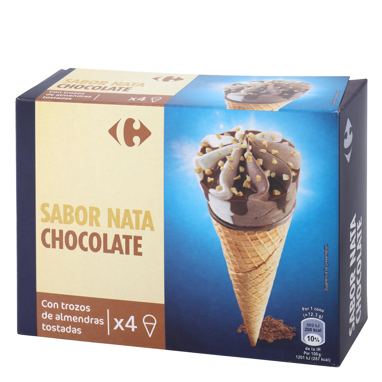 Conos con helado de nata y chocolate Carrefour 4 ud.