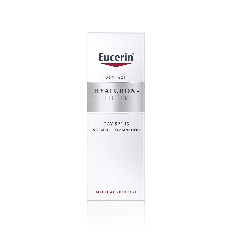 Crema facial para piel normal y mixta rellenador de arrugas Hyaluron Filler para el día con FP15 Eucerin 50 ml.